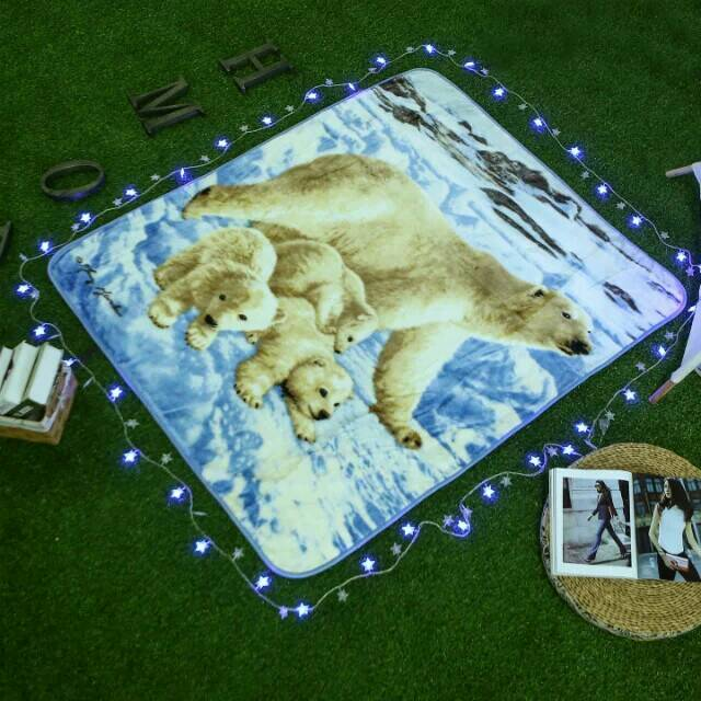 Single Layer Baby Blanket Warm Breathable RASCHEL BLANKET On The Bed Digital Dyeing No Fade Warp Blankets For Beds 130*150CM