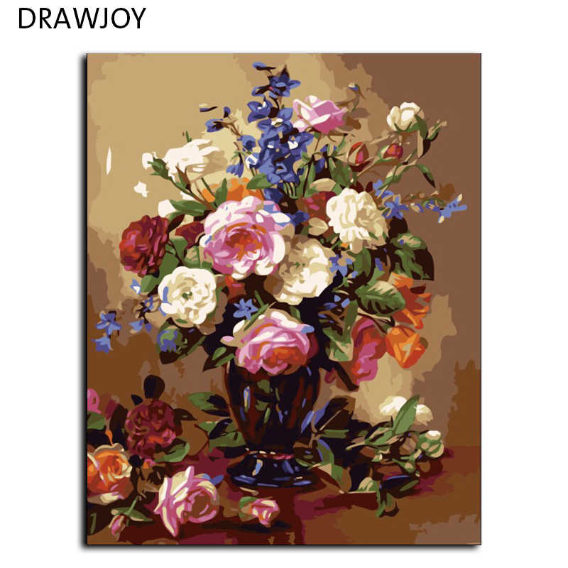 DRAWJOY Frameless Wall Sticker Painting By Numbers Hand Painted On Canvas Oil Painting Wedding Decoration Of Flower 40*50cm G386