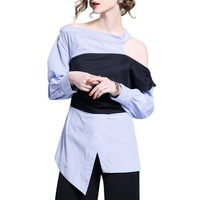 Women stripe Blouse Fashion Long Sleeve Sexy Off Shoulder Top Woman New Fashion Contrast Color irregular Blouses shirts