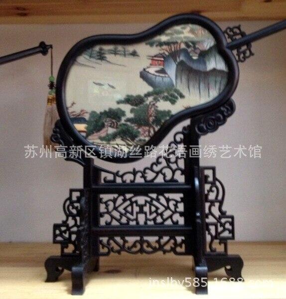 Шелковая вышивка, полноценно палисандр двусторонняя вышивка наборы экран gongshan Тыква Форма благоприятный Новый год подарки