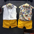 Retail 2016 Children Summer clothes flower printed shirt Kids Boys clothing sets sleeveless t shirt+ yellow pants 2pcs set