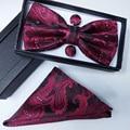 Gravata borboleta 100% hombres de seda bowtie Pocket Square flores de marañón pajarita y pañuelo conjunto pañuelo con corbatas gemelos caja conjunto