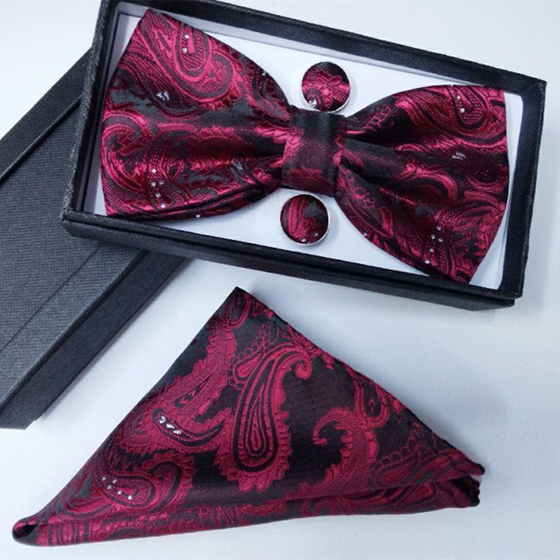 Gravata Borboleta Silk Gifts For Men Bowtie Pocket Square Cashew Flowers Bow Tie And Handkerchief Hanky With Cufflink Set