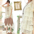 Summer Vintage Style Mori Girl Tunic Blouses Lace Crochet Embroidery Beige Boho Patchwork Ruffles Cute Lolita Shirts U054