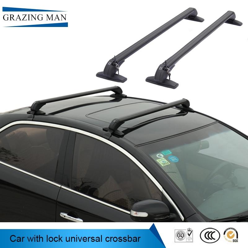 La voiture toit rack est une croix-pôle de voiture toit rack, une commune ceinture en alliage d'aluminium, et un bar cadre avec une serrure cadre