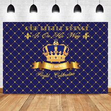 NeoBack Royal Boy Baby Shower Background for Photo Celebration Prince Crown Gold Blue Plaid Photography Backdrops