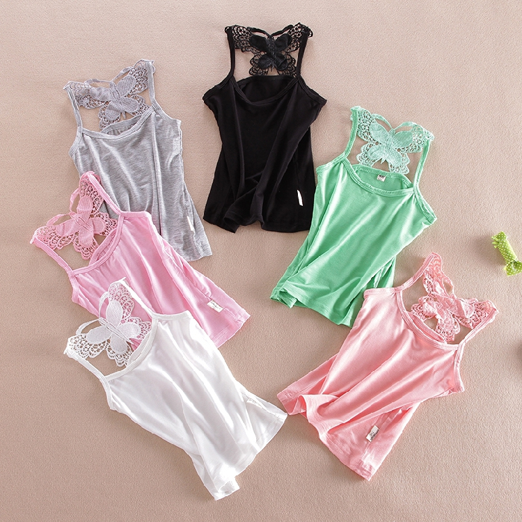 Lace Girls Shirts Cotton Girl Underwear Bow Tops For Kids Singlets Summer Children Undershirts Baby Tees ...