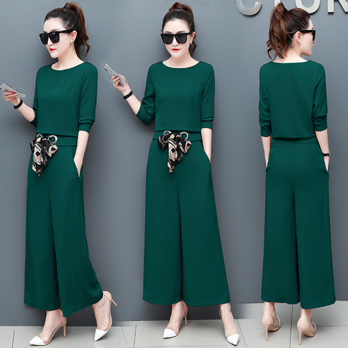 Spring And Autumn 2 Piece Set Women Wide Leg Trousers Suit Set Leisure Palazzo Pants Ensemble Femme Survetement Woman Suit thumbnail