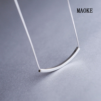 Promotions 925 Silver One Chain Necklace Short Clavicle Chain Half Moon Bay Simple Joker for Women's Fashion Gifts
