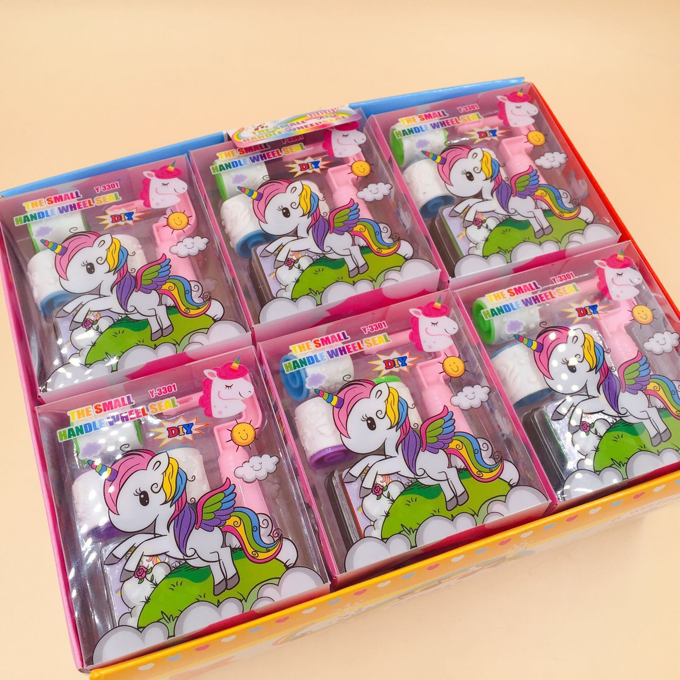 Creative Cartoon Unicorn Roll Stamps DIY Stamps And Inkpad Diary Stamp Collection Scrapbook Stationery Supplies.