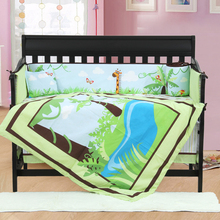 7PCS embroidered Baby Cot Bedding Set For Bumper Cots Cute Baby Crib Set,include(bumper+duvet+sheet+pillow)