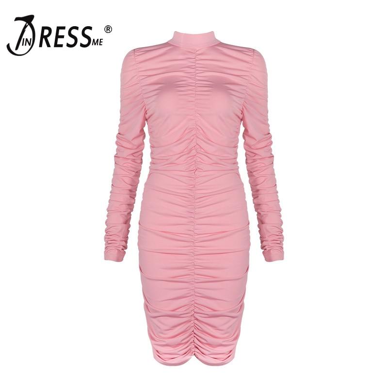 Donne Dolcevita Delle Lunga Nero Vestito Nuove Indressme Aderente 2019 Rosa Manica Black Fodero pink Drappeggiato Del Sexy 8PRwtw5qx