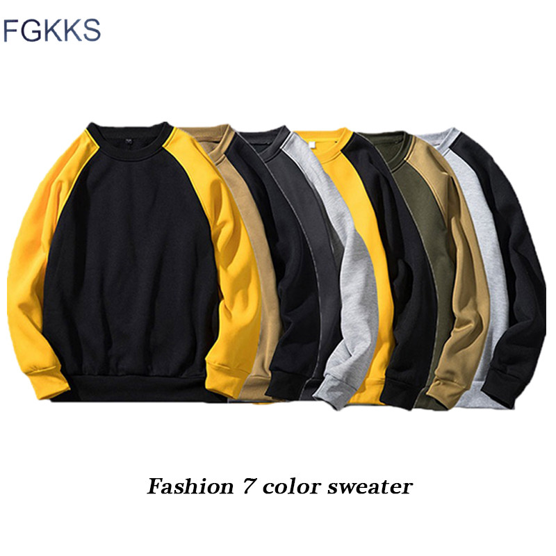 FGKKS Fashion Brand Men Hoodies Top 2019 Autumn Male Splice Pullover Hoodies Mens Sweatshirt Hoodies Clothing EU Size