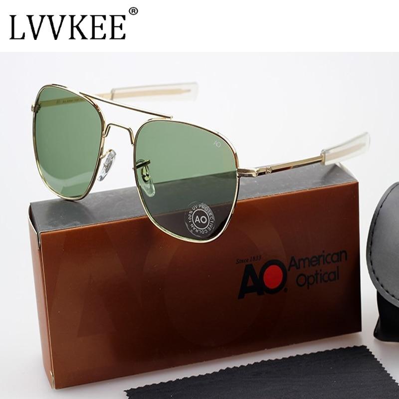 Pilotos da Força Aérea DOS EUA MILITAR AO óculos de Marca Óculos De Sol Dos Homens Lente de Vidro Óptico Frame Da Liga de alumínio de Aviação de Metal Óculos de Sol Óculos de Condução