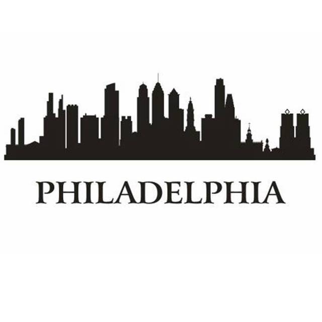 Dctal philadelphia city decal landmark skyline wall stickers sketch decals poster parede home decor sticker