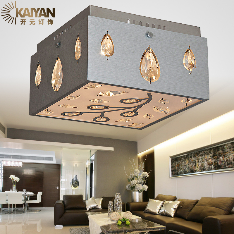 Modern Simple Crystal Ceiling Lights Foyer Balcony Bedroom Study Hanging 220V G4 Square Gold Silver