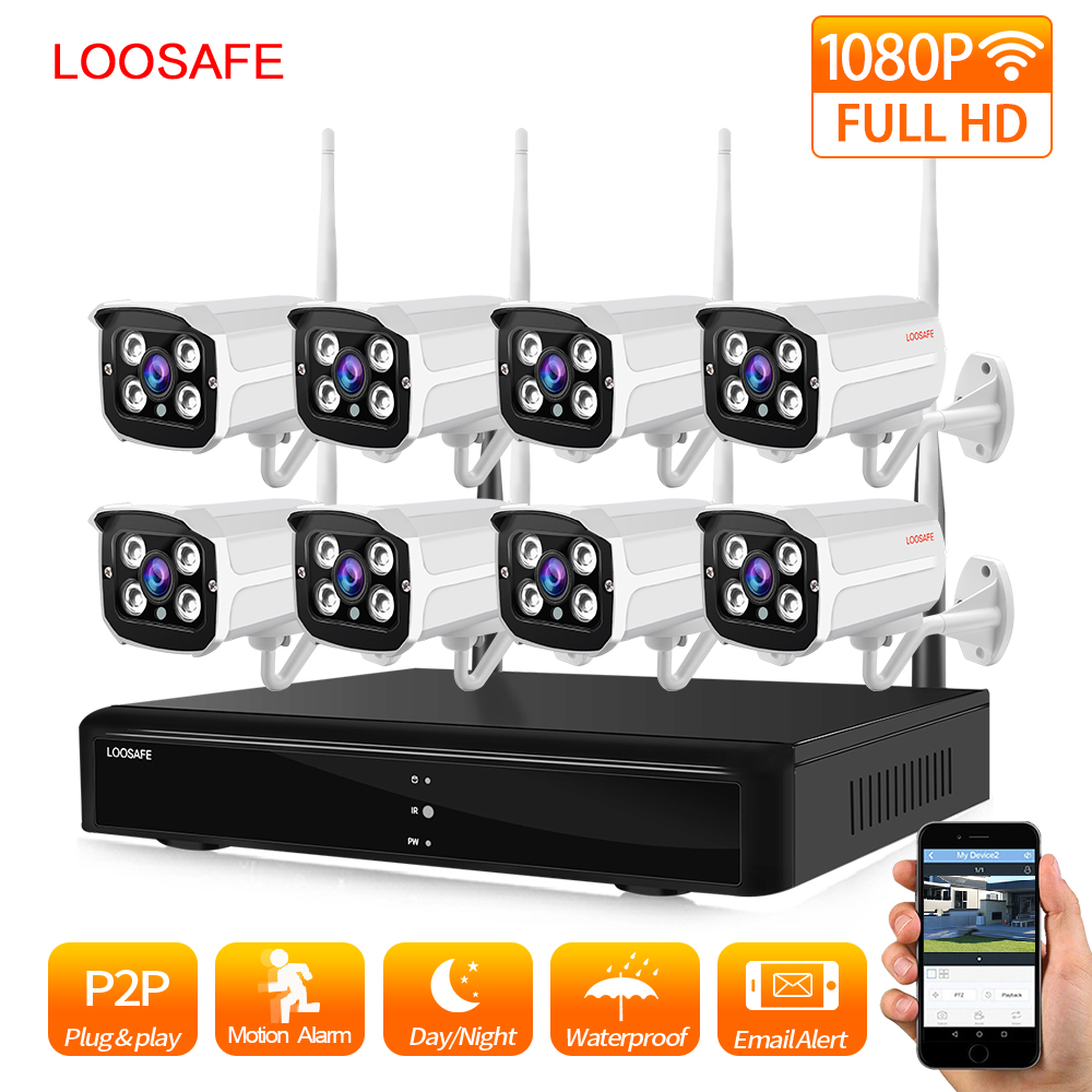LOOSAFE 8CH 1080P Wireless CCTV Camera System Wireless NVR Kit In/Outdoor IP66 Day/Night DIY Video IP Camera Surveillance System