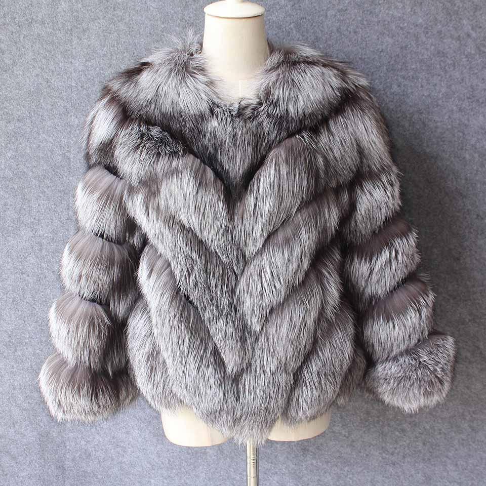 2018 New arrival real natural silver fox fur jacket coats for women fashion female winter fur outwear European warm clothing fur