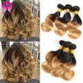 Blonde Peruvian Virgin Hair Body Wave 3 Bundles Bob Weave Wet And Wavy Peruvian Body Wave Hair Two Tone Ombre Human Hair Weave