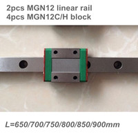 2pcs 12mm Linear Guide MGN12 650 700 750 800 850 900 mm linear rail + 4pcs MGN12H or MGN12C block 3d printer CNC