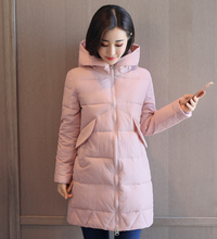 2017 Women Winter Parkas Female Warm Thicken Middle-Long Slim Hooded jacket coat Cotton Padded Parkas coat