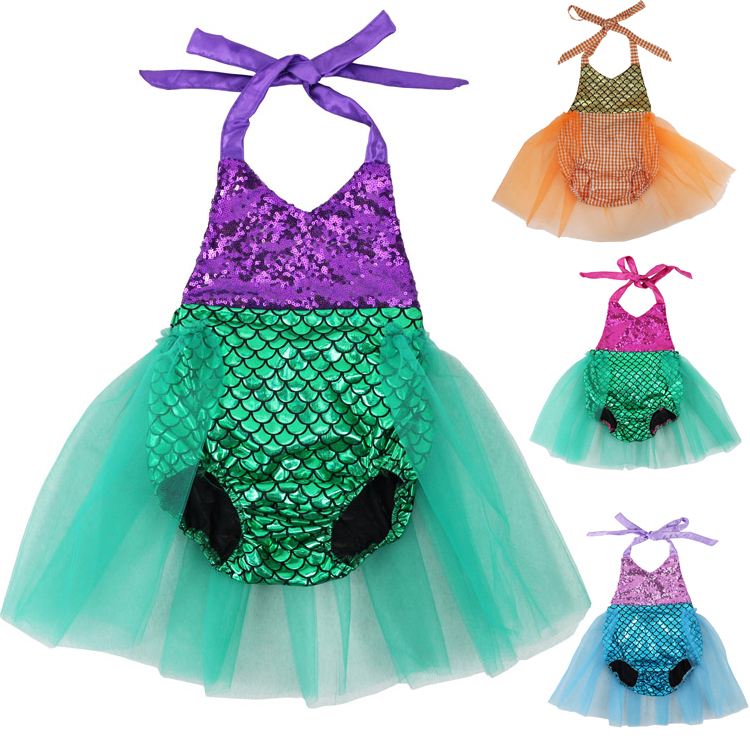 2017 Baby Girls Sequins Tutu Summer Mermaid Baby   Rompers   One-Pieces Multi Color Toddler Baby Clothing Girl   Rompers