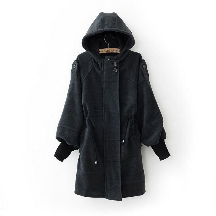 Корейский Дизайнер 2015 Осень женская Мода Шнурок С Капюшоном Пальто Дамы Средней длины Траншеи Пальто