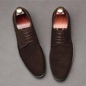 OMDE/Новое поступление, мужские замшевые туфли, Стильные Мужские модельные туфли на шнуровке, красивая повседневная обувь в итальянском стил...