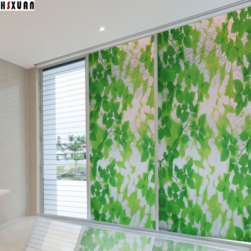 Stained Glass Windows Leaf Decor 92x100cm Frosted Glass Stickers On