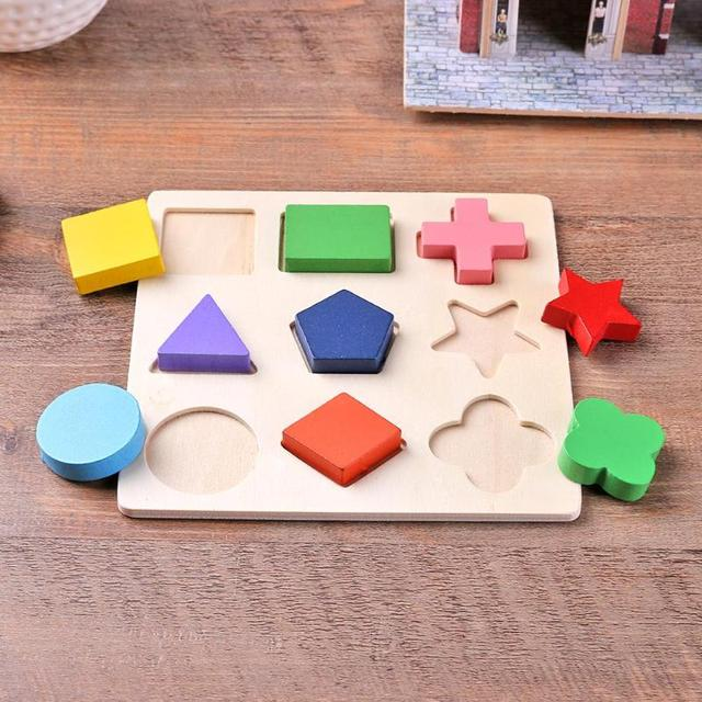 Wooden Geometric Shapes Montessori Puzzle Sorting Math Bricks Preschool Learning Educational Game Baby Toddler Toys for Children 4