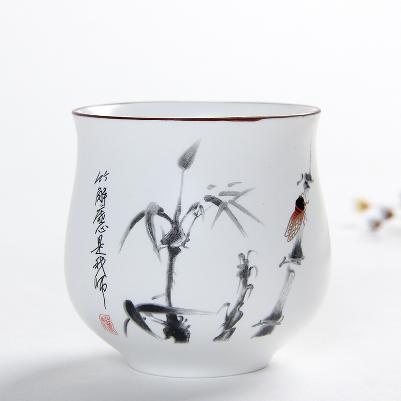 Creative china ink painting teacups 160ml white ceramic water cup large capacity Japanes ...