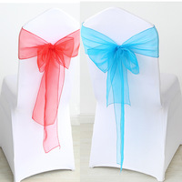 50Pcs/set High Quality Organza Wedding Chair Knot Sashes Cover Chairs Bow Band Belt Ties For Wedding Banquet Party Decoration