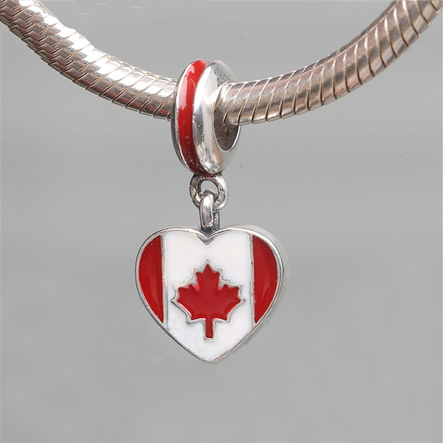 Canadian Flag Enamel 100% 925 Sterling Silver Charms Canada Flag Heart Pendant Fits European Charms Bracelet