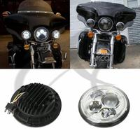 Black/Chrome 7 Projector HID LED Halo Headlight For Jeep Wrangler TJ JK For Harley Touring 94 13 FLD 12 13 Softail Dyna
