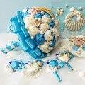 Ручной синего моря серии оболочки свадебные букеты брошь из бисера shell перл букет невесты для пляжа свадьбы оболочки подушку обручальное кольцо