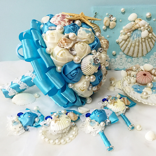 Hand Blue Sea Series Shell Wedding Bouquets Beaded Brooch Pearl Bridal Bouquet For Beach