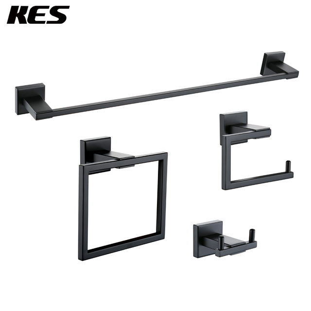 b94396fdb1dc KES 4-Piece Bathroom Accessory Set Wall Mount SUS 304 Stainless Steel Matt  Black ,