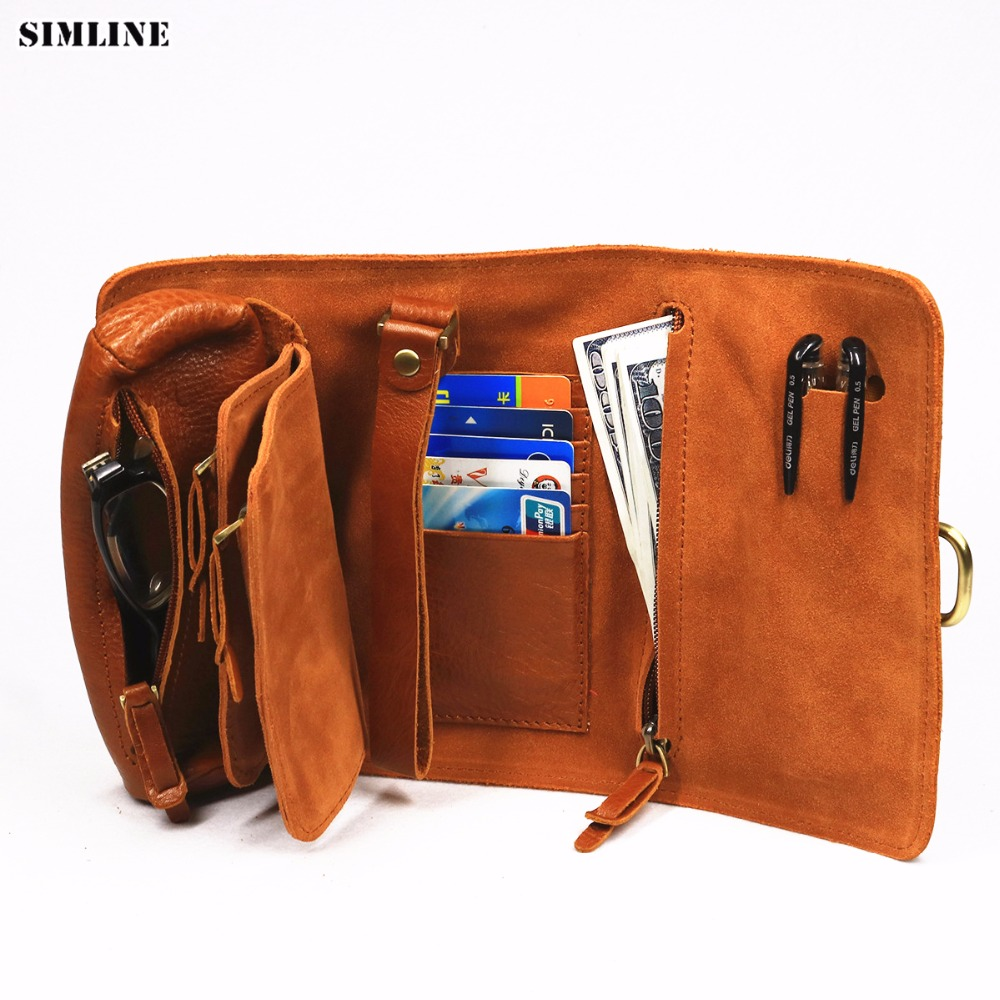 SIMLINE Genuine Leather Wallet Men Vintage Handmade Long Purse Multi Function Organizer Wallets Clutch Bag Storage
