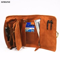 SIMLINE Genuine Leather Wallet Men Vintage Handmade Long Purse Multi Function Organizer Wallets Clutch Bag Storage Bags For Male