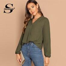 Sheinside ejército verde V cuello blusa mujer Casual minimalista gasa blusas 2019 primavera Oficina señora sólido ropa de trabajo blusa básica