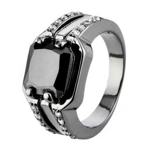 Luckyshine AAAA Unisex สีดำ Onyx อัญมณีแหวน Cubic Zirconia แหวนเงินปาร์ตี้วันหยุดคริสต์มาสของขวัญแหวน