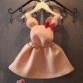 2016 nova primavera do bebê meninas vestido bonito bow crianças vestidos para meninas 2 cor vestido de festa terno 2 - 7 T roupas cor de rosa robe fille enfant