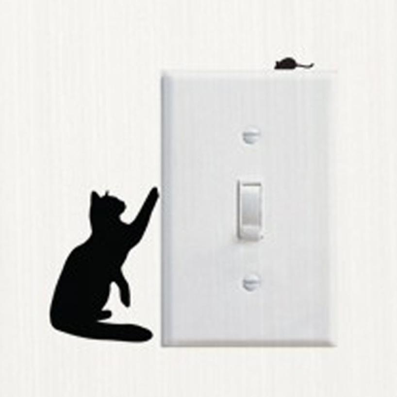Switch Panel Sticker Removable Cute Lovely Black Cat Switch Wall Sticker Vinyl Decal Home Decor Decal Kids room Dropshipping