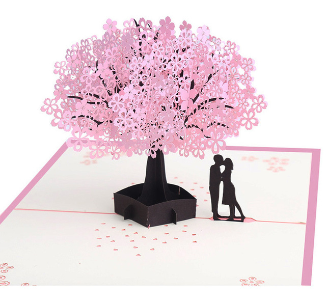 Pink cherry blossom 3d love pop up cards romantic love tree couple pink cherry blossom 3d love pop up cards romantic love tree couple handmade love greeting cards m4hsunfo