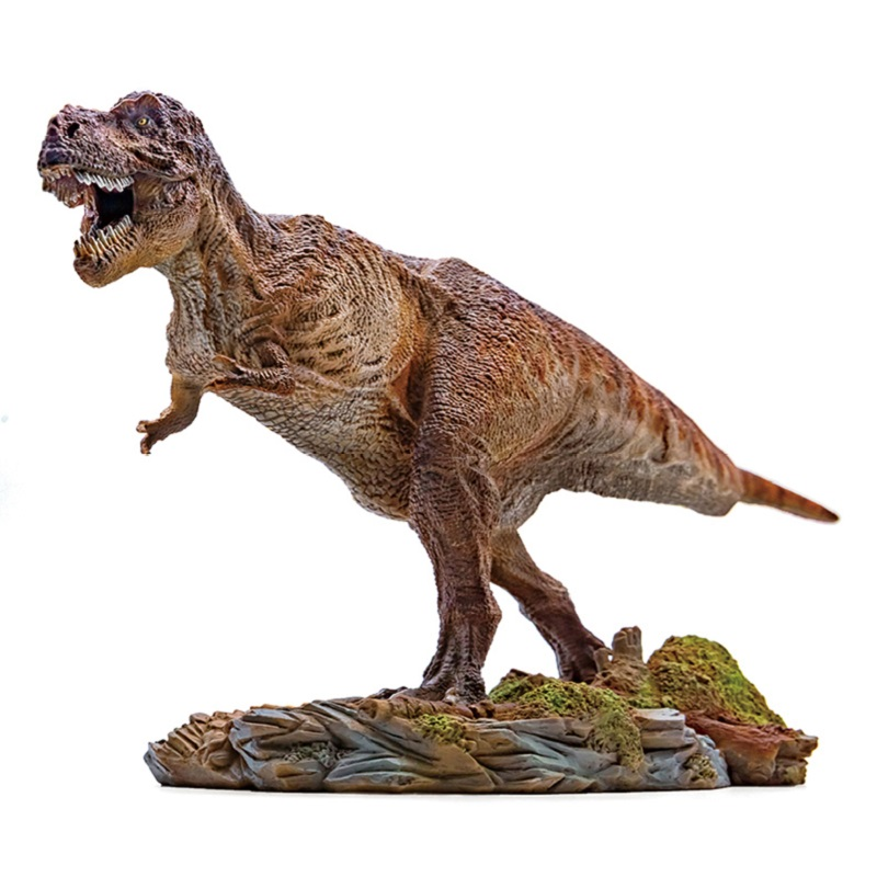 1 35 PNSO Tyrannosaurus Rex With Pedestal Platform Dinosaur Figure Mouth Can Open Classic Toys For