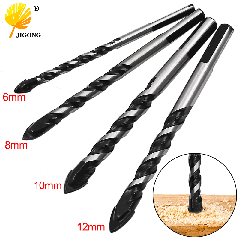 6mm 8mm 10mm 12mm Tungsten Carbide Glass Drill Bit Set Alloy Carbide Point With Cutting Edges Tile & Glass Spear Head Drill Bits