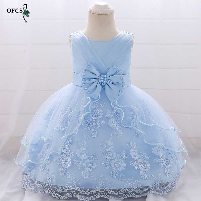 Girl Princess party Dress Birthday wedding clothes Girl Bow Pearl Flower Sleeveless Bridal Gown Prom Dress Baby Girl clothing 2T