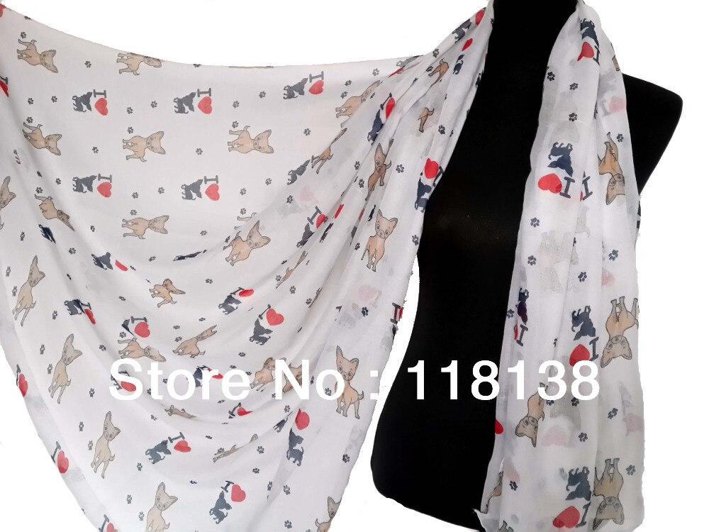 ea127b6656d5 Belle Femmes de Chien Chihuahua J aime Chiot Imprimer Animaux Écharpe  Printemps Hiver Doux Foulards, livraison Gratuite dans Foulards de  Vêtements ...