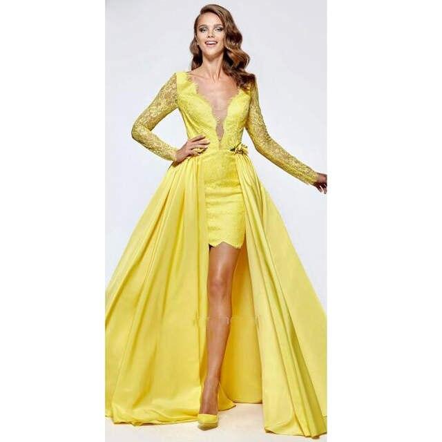 77c79c53370e Moda Amarelo Saia Destacável A Linha de vestidos De Noite Longo Rendas Duas  Peças vestido de Baile Vestidos Formais Robe de soirée longue 2019