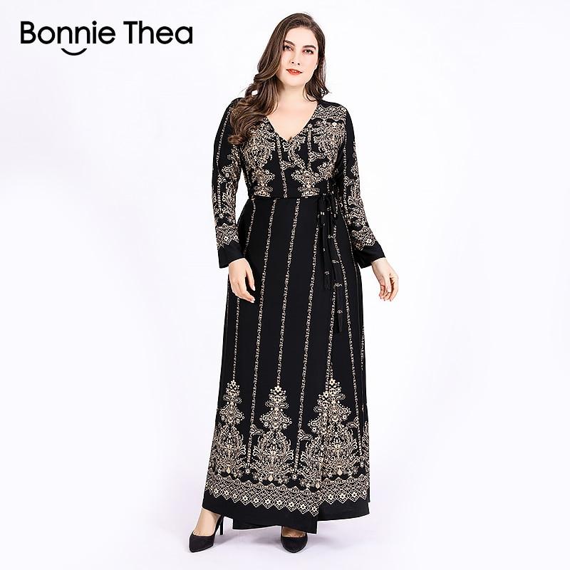 03201a46af9 Бонни ТЕА для женщин  большие размеры платье макси XL-6XL Осень Зима  Элегантный Винтаж